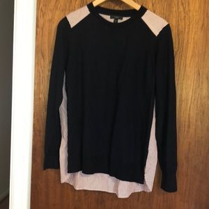 J crew light sweater with striped shirting back